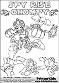 Printable or online colorable Skylanders Swap Force coloring page with the original swappable character SPY RISE and 6 Chompy figures (chompies that can be colored). Chompies are somewhat easy opponents players face in the different Skylanders games.  SPY RISE is a Skylander that can be bought and combined with other swappable Skylanders - the two parts SPY and RISE are in the same figure box! The colouring page is drawn with a super thin line that has a shadow applied to it. This make the stroke easier to see while maintaining the majority of the colorable areas. The printable coloring page also have the skylander name and CHOMPY as colorable text. Print and color this Skylanders Swap Force SPY RISE coloring print page that is drawn and made available by Loke Hansen (http://www.LokeHansen.com) based on the original artwork of the Skylanders characters from the Skylanders Swap Force website.