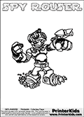 This printable coloring page for Skylanders Swap Force fans  show SPY ROUSER, a combined figure from the Skylanders Swap Force universe. The character cannot be bought as it is, it must be made by swapping parts from other Skylanders Swap Force figures! SPY ROUSER is drawn with the upper part of the SPY RISE Skylander and the lower part of the RUBBLE ROUSER Skylander. In this coloring page, the SPY ROUSER skylander can be colored in full - as one complete character (you can print this coloring sheet or draw it online). The coloring sheet also include a colorable text with the SPY ROUSER letters. Print and color this Skylanders Swap Force SPY ROUSER sheet that is drawn by Loke Hansen (http://www.LokeHansen.com) based on the original artwork of the Skylanders characters from the Skylanders Swap Force website.