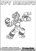 This printable coloring page for Skylanders Swap Force fans (or parents of them) show SPY SHADOW, a combined figure from the Skylanders Swap Force universe. The character cannot be bought as it is, it must be made by swapping parts from other Skylanders Swap Force figures! SPY SHADOW is drawn with the upper part of the SPY RISE Skylander and the lower part of the awesome TRAP SHADOW Skylander. In this coloring page, the SPY SHADOW skylander can be colored in full - as one complete character (you can print this coloring sheet or draw it online). The coloring sheet also include a colorable text with the SPY SHADOW letters. Print and color this Skylanders Swap Force SPY SHADOW sheet that is drawn by Loke Hansen (http://www.LokeHansen.com) based on the original artwork of the Skylanders characters from the Skylanders Swap Force website.