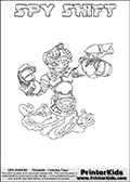 This printable coloring page for Skylanders Swap Force fans (or parents of them) show SPY SHIFT, a combined figure from the Skylanders Swap Force universe. The character cannot be bought, it must be made by swapping parts from other Skylanders figures! SPY SHIFT is drawn with the upper part of the SPY RISE Skylander and the lower part of the NIGHT SHIFT Skylander. In this coloring page, the SPY SHIFT skylander can be colored in full - as one complete character (you can print this coloring sheet or draw it online). The coloring sheet also include a colorable text with the SPY SHIFT name letters. Print and color this Skylanders Swap Force SPY SHIFT sheet that is drawn by Loke Hansen (http://www.LokeHansen.com) based on the original artwork of the Skylanders characters from the Skylanders Swap Force website.