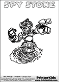 This printable coloring page for Skylanders Swap Force fans  show SPY STONE - a combination Skylander figure. The Skylander cannot be bought as it is, it must be made by combining parts from other Skylanders Swap Force characters! SPY STONE is drawn with the upper part of the SPY RISE Skylander and the lower part of the DOOM STONE Skylander. In this coloring page, the SPY STONE skylander can be colored in full - as one complete character (you can also color it online). The colouring page also has a colorable text with the SPY STONE letters above the Skylander. Print and color this Skylanders Swap Force SPY STONE sheet that is drawn by Loke Hansen (http://www.LokeHansen.com) based on the original artwork of the Skylanders characters from the Skylanders Swap Force website.