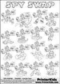 Printable or online colorable Skylanders Swap Force coloring page with all 16 combinations of Skylanders made with the SPY upper part. The skylanders coloring figures are relatively small - but there are 16 different on this coloring page. Print and color this Skylanders Swap Force SPY SWAP coloring print page that is drawn and made available by Loke Hansen (http://www.LokeHansen.com) based on the original artwork of the Skylanders characters from the Skylanders Swap Force website. This coloring page variant has the highest amount of detail areas due to the thin drawing line used. The Skylanders combinations show here for coloring are: SPY ZONE, SPY JET, SPY STONE, SPY RISE, SPY RANGER, SPY BLADE, SPY DRILLA, SPY LOOP, SPY RISE, SPY SHIFT, SPY SHAKE, SPY ROUSER, SPY RISE, SPY BOMB, SPY SHADOW and SPY BUCKLER.