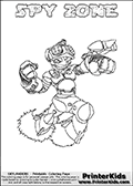 This printable coloring page for Skylanders Swap Force fans (or parents of them) show SPY ZONE, a combined figure from the Skylanders Swap Force universe. The character cannot be bought, it must be made by swapping parts from other Skylanders figures! SPY ZONE is drawn with the upper part of the SPY RISE Skylander and the lower part of the BLAST ZONE Skylander. In this coloring page, the SPY ZONE skylander can be colored in full - as one complete character (you can print this coloring sheet or draw it online). The coloring sheet also include a colorable text with the SPY ZONE name letters. Print and color this Skylanders Swap Force SPY ZONE sheet that is drawn by Loke Hansen (http://www.LokeHansen.com) based on the original artwork of the Skylanders characters from the Skylanders Swap Force website.