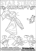 Skylanders Swap Force coloring page with Chompies and a lightcore STAR STRIKE magic element Skylander.  Print and color this Skylanders Swap Force STAR STRIKE coloring sheet for kids that is drawn and made available by Loke Hansen (http://www.LokeHansen.com) based on an image from the Skylanders Swap Force PS3 game with Lightcore Star Strike figure in action. This version of the colouring sheet has the light from Star Strikes eyes shown as thin lines.