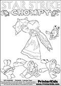Online and printable coloring page with Chompies and a lightcore STAR STRIKE character that has rays of light from the eyes. This kids page for printing has the Light Core Star Strike figure drawn with glowing eyes above a fleeing group of Chompy figures. The page has Chompies for coloring in different size, pictured ( or drawn ) in different ways. Print and color this Skylanders Swap Force STAR STRIKE coloring sheet for kids that is drawn and made available by Loke Hansen (http://www.LokeHansen.com) based on an image from the Skylanders Swap Force PS3 game with Lightcore Star Strike figure in action. This version of the kids printable sheet has the light from Star Strikes eyes shown as white areas. This means that the rays remove the character lines where they are.