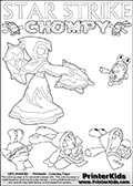 Skylanders coloring page with Chompies and a STAR STRIKE Skylander drawn from the side while turning around with her weapons (one in each hand). This multi figure coloring print has Star Strike positioned in the middle and to the side of the printable sheet, with Chompies on the other sides. Three large chompies can be colored below Star Strike and three minor chompies on the side and above Star Strike. Print and color this Skylanders Swap Force STAR STRIKE coloring sheet for kids that is drawn and made available by Loke Hansen (http://www.LokeHansen.com) based on an image from the Skylanders Swap Force PS3 game.