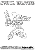 The coloring page is available as a coloring page to print and as an online coloring page. This colouring sheet is ment for Skylanders Swap Force fans and show the unique combination skylander called STINK BLADE. The Skylander cannot be bought as it is, it must be made by combining parts from other Skylanders Swap Force characters! STINK BLADE is drawn with the upper part of the STINK BOMB Skylander and the lower part of the FREEZE BLADE Skylander, the part used from each Skylander is used in the new skylanders name. In this coloring page, the STINK BLADE skylander can be colored completely. The colouring page is drawn with a super thin line and has a colorable text with the STINK BLADE letters as well. Print and color this Skylanders Swap Force STINK BLADE coloring book page that is drawn and made available by Loke Hansen (http://www.LokeHansen.com) based on the original artwork of the Skylanders characters from the Skylanders Swap Force website. This coloring page variant has the highest amount of detail areas due to the thin drawing line used. Be sure to check the two other variants of this coloring page for more stroke (the line used to draw the STINK BLADE with) options.
