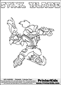 Skylanders Swap Force - STINK BLADE - Coloring Page 2 Thin Shaded Line
