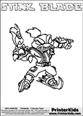 The coloring page is available as a coloring page to print and as an online coloring page. This colouring sheet is ment for Skylanders Swap Force fans and show the unique combination skylander called STINK BLADE. The Skylander cannot be bought as it is, it must be made by combining parts from other Skylanders Swap Force characters! STINK BLADE is drawn with the upper part of the STINK BOMB Skylander and the lower part of the FREEZE BLADE Skylander, the part used from each Skylander is used in the new skylanders name. In this coloring page, the STINK BLADE skylander can be colored completely. The colouring page is drawn with a very thick line making it ideal for the youngest Skylanders Swap Force fans. The downside of the thick line is that some detail areas become unavailable for coloring. The coloring page has a colorable text with the STINK BLADE letters as well. Print and color this Skylanders Swap Force STINK BLADE coloring book page that is drawn and made available by Loke Hansen (http://www.LokeHansen.com) based on the original artwork of the Skylanders characters from the Skylanders Swap Force website. Be sure to check the two other variants of this coloring page for more line width options.