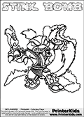 Coloring page with STINK BOMB from the 2013 Skylanders game called Skylanders Swap Force. The Skylanders Swap Force universe offer new unique characters that can be combined into even more characters. The Skylanders character in this coloring print - STINK BOMB is a standard character and has no parts from other Skylanders characters. It can however replace either the upper or lower body with that of another Skylanders character. This coloring page for printing show the Skylander in full. Print and color this Skylanders Swap Force STINK BOMB page that is drawn by Loke Hansen (http://www.LokeHansen.com) based on the original artwork of the Skylanders characters.