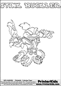 The coloring page is available as a coloring page to print and as an online coloring page. This colouring sheet is ment for Skylanders Swap Force fans and show the unique combination skylander called STINK BUCKLER. The Skylander cannot be bought as it is, it must be made by combining parts from other Skylanders Swap Force characters! STINK BUCKLER is drawn with the upper part of the STINK BOMB Skylander and the lower part of the WASH BUCKLER Skylander, the part used from each Skylander is used in the new skylanders name. In this coloring page, the STINK BUCKLER skylander can be colored completely. The colouring page is drawn with a super thin line and has a colorable text with the STINK BUCKLER letters as well. Print and color this Skylanders Swap Force STINK BUCKLER coloring book page that is drawn and made available by Loke Hansen (http://www.LokeHansen.com) based on the original artwork of the Skylanders characters from the Skylanders Swap Force website. This coloring page variant has the highest amount of detail areas due to the thin drawing line used. Be sure to check the two other variants of this coloring page for more stroke (the line used to draw the STINK BUCKLER with) options.