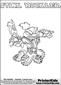 The coloring page is available as a coloring page to print and as an online coloring page. This colouring sheet is ment for Skylanders Swap Force fans and show the unique combination skylander called STINK BUCKLER. The Skylander cannot be bought as it is, it must be made by combining parts from other Skylanders Swap Force characters! STINK BUCKLER is drawn with the upper part of the STINK BOMB Skylander and the lower part of the WASH BUCKLER Skylander, the part used from each Skylander is used in the new skylanders name. In this coloring page, the STINK BUCKLER skylander can be colored completely. The colouring page is drawn with a thin shaded line and has a colorable text with the STINK BUCKLER letters as well. Print and color this Skylanders Swap Force STINK BUCKLER coloring book page that is drawn and made available by Loke Hansen (http://www.LokeHansen.com) based on the original artwork of the Skylanders characters from the Skylanders Swap Force website. This line variant is the -editors choice- where detail areas and line appearance are in best balance. Be sure to check the two other variants of this coloring page for more stroke (the line used to draw the STINK BUCKLER with) options.