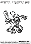 The coloring page is available as a coloring page to print and as an online coloring page. This colouring sheet is ment for Skylanders Swap Force fans and show the unique combination skylander called STINK BUCKLER. The Skylander cannot be bought as it is, it must be made by combining parts from other Skylanders Swap Force characters! STINK BUCKLER is drawn with the upper part of the STINK BOMB Skylander and the lower part of the WASH BUCKLER Skylander, the part used from each Skylander is used in the new skylanders name. In this coloring page, the STINK BUCKLER skylander can be colored completely. The colouring page is drawn with a very thick line making it ideal for the youngest Skylanders Swap Force fans. The downside of the thick line is that some detail areas become unavailable for coloring. The coloring page has a colorable text with the STINK BUCKLER letters as well. Print and color this Skylanders Swap Force STINK BUCKLER coloring book page that is drawn and made available by Loke Hansen (http://www.LokeHansen.com) based on the original artwork of the Skylanders characters from the Skylanders Swap Force website. Be sure to check the two other variants of this coloring page for more line width options.