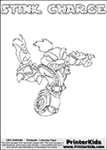 The coloring page is available as a coloring page to print and as an online coloring page. This colouring sheet is ment for Skylanders Swap Force fans and show the unique combination skylander called STINK CHARGE. The Skylander cannot be bought as it is, it must be made by combining parts from other Skylanders Swap Force characters! STINK CHARGE is drawn with the upper part of the STINK BOMB Skylander and the lower part of the MAGNA CHARGE Skylander, the part used from each Skylander is used in the new skylanders name. In this coloring page, the STINK CHARGE skylander can be colored completely. The colouring page is drawn with a super thin line and has a colorable text with the STINK CHARGE letters as well. Print and color this Skylanders Swap Force STINK CHARGE coloring book page that is drawn and made available by Loke Hansen (http://www.LokeHansen.com) based on the original artwork of the Skylanders characters from the Skylanders Swap Force website. This coloring page variant has the highest amount of detail areas due to the thin drawing line used. Be sure to check the two other variants of this coloring page for more stroke (the line used to draw the STINK CHARGE with) options.