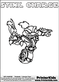 The coloring page is available as a coloring page to print and as an online coloring page. This colouring sheet is ment for Skylanders Swap Force fans and show the unique combination skylander called STINK CHARGE. The Skylander cannot be bought as it is, it must be made by combining parts from other Skylanders Swap Force characters! STINK CHARGE is drawn with the upper part of the STINK BOMB Skylander and the lower part of the MAGNA CHARGE Skylander, the part used from each Skylander is used in the new skylanders name. In this coloring page, the STINK CHARGE skylander can be colored completely. The colouring page is drawn with a very thick line making it ideal for the youngest Skylanders Swap Force fans. The downside of the thick line is that some detail areas become unavailable for coloring. The coloring page has a colorable text with the STINK CHARGE letters as well. Print and color this Skylanders Swap Force STINK CHARGE coloring book page that is drawn and made available by Loke Hansen (http://www.LokeHansen.com) based on the original artwork of the Skylanders characters from the Skylanders Swap Force website. Be sure to check the two other variants of this coloring page for more line width options.