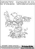 The coloring page is available as a coloring page to print and as an online coloring page. This colouring sheet is ment for Skylanders Swap Force fans and show the unique combination skylander called STINK DRILLA. The Skylander cannot be bought as it is, it must be made by combining parts from other Skylanders Swap Force characters! STINK DRILLA is drawn with the upper part of the STINK BOMB Skylander and the lower part of the GRILLA DRILLA Skylander, the part used from each Skylander is used in the new skylanders name. In this coloring page, the STINK DRILLA skylander can be colored completely. The colouring page is drawn with a super thin line and has a colorable text with the STINK DRILLA letters as well. Print and color this Skylanders Swap Force STINK DRILLA coloring book page that is drawn and made available by Loke Hansen (http://www.LokeHansen.com) based on the original artwork of the Skylanders characters from the Skylanders Swap Force website. This coloring page variant has the highest amount of detail areas due to the thin drawing line used. Be sure to check the two other variants of this coloring page for more stroke (the line used to draw the STINK DRILLA with) options.