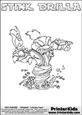 The coloring page is available as a coloring page to print and as an online coloring page. This colouring sheet is ment for Skylanders Swap Force fans and show the unique combination skylander called STINK DRILLA. The Skylander cannot be bought as it is, it must be made by combining parts from other Skylanders Swap Force characters! STINK DRILLA is drawn with the upper part of the STINK BOMB Skylander and the lower part of the GRILLA DRILLA Skylander, the part used from each Skylander is used in the new skylanders name. In this coloring page, the STINK DRILLA skylander can be colored completely. The colouring page is drawn with a thin shaded line and has a colorable text with the STINK DRILLA letters as well. Print and color this Skylanders Swap Force STINK DRILLA coloring book page that is drawn and made available by Loke Hansen (http://www.LokeHansen.com) based on the original artwork of the Skylanders characters from the Skylanders Swap Force website. This line variant is the -editors choice- where detail areas and line appearance are in best balance. Be sure to check the two other variants of this coloring page for more stroke (the line used to draw the STINK DRILLA with) options.