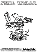 The coloring page is available as a coloring page to print and as an online coloring page. This colouring sheet is ment for Skylanders Swap Force fans and show the unique combination skylander called STINK DRILLA. The Skylander cannot be bought as it is, it must be made by combining parts from other Skylanders Swap Force characters! STINK DRILLA is drawn with the upper part of the STINK BOMB Skylander and the lower part of the GRILLA DRILLA Skylander, the part used from each Skylander is used in the new skylanders name. In this coloring page, the STINK DRILLA skylander can be colored completely. The colouring page is drawn with a very thick line making it ideal for the youngest Skylanders Swap Force fans. The downside of the thick line is that some detail areas become unavailable for coloring. The coloring page has a colorable text with the STINK DRILLA letters as well. Print and color this Skylanders Swap Force STINK DRILLA coloring book page that is drawn and made available by Loke Hansen (http://www.LokeHansen.com) based on the original artwork of the Skylanders characters from the Skylanders Swap Force website. Be sure to check the two other variants of this coloring page for more line width options.