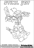 The coloring page is available as a coloring page to print and as an online coloring page. This colouring sheet is ment for Skylanders Swap Force fans and show the unique combination skylander called STINK JET. The Skylander cannot be bought as it is, it must be made by combining parts from other Skylanders Swap Force characters! STINK JET is drawn with the upper part of the STINK BOMB Skylander and the lower part of the BOOM JET Skylander, the part used from each Skylander is used in the new skylanders name. In this coloring page, the STINK JET skylander can be colored completely. The colouring page is drawn with a super thin line and has a colorable text with the STINK JET letters as well. Print and color this Skylanders Swap Force STINK JET coloring book page that is drawn and made available by Loke Hansen (http://www.LokeHansen.com) based on the original artwork of the Skylanders characters from the Skylanders Swap Force website. This coloring page variant has the highest amount of detail areas due to the thin drawing line used. Be sure to check the two other variants of this coloring page for more stroke (the line used to draw the STINK JET with) options.
