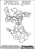 The coloring page is available as a coloring page to print and as an online coloring page. This colouring sheet is ment for Skylanders Swap Force fans and show the unique combination skylander called STINK JET. The Skylander cannot be bought as it is, it must be made by combining parts from other Skylanders Swap Force characters! STINK JET is drawn with the upper part of the STINK BOMB Skylander and the lower part of the BOOM JET Skylander, the part used from each Skylander is used in the new skylanders name. In this coloring page, the STINK JET skylander can be colored completely. The colouring page is drawn with a thin shaded line and has a colorable text with the STINK JET letters as well. Print and color this Skylanders Swap Force STINK JET coloring book page that is drawn and made available by Loke Hansen (http://www.LokeHansen.com) based on the original artwork of the Skylanders characters from the Skylanders Swap Force website. This line variant is the -editors choice- where detail areas and line appearance are in best balance. Be sure to check the two other variants of this coloring page for more stroke (the line used to draw the STINK JET with) options.