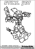 The coloring page is available as a coloring page to print and as an online coloring page. This colouring sheet is ment for Skylanders Swap Force fans and show the unique combination skylander called STINK JET. The Skylander cannot be bought as it is, it must be made by combining parts from other Skylanders Swap Force characters! STINK JET is drawn with the upper part of the STINK BOMB Skylander and the lower part of the BOOM JET Skylander, the part used from each Skylander is used in the new skylanders name. In this coloring page, the STINK JET skylander can be colored completely. The colouring page is drawn with a very thick line making it ideal for the youngest Skylanders Swap Force fans. The downside of the thick line is that some detail areas become unavailable for coloring. The coloring page has a colorable text with the STINK JET letters as well. Print and color this Skylanders Swap Force STINK JET coloring book page that is drawn and made available by Loke Hansen (http://www.LokeHansen.com) based on the original artwork of the Skylanders characters from the Skylanders Swap Force website. Be sure to check the two other variants of this coloring page for more line width options.