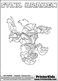 The coloring page is available as a coloring page to print and as an online coloring page. This colouring sheet is ment for Skylanders Swap Force fans and show the unique combination skylander called STINK KRAKEN. The Skylander cannot be bought as it is, it must be made by combining parts from other Skylanders Swap Force characters! STINK KRAKEN is drawn with the upper part of the STINK BOMB Skylander and the lower part of the FIRE KRAKEN Skylander, the part used from each Skylander is used in the new skylanders name. In this coloring page, the STINK KRAKEN skylander can be colored completely. The colouring page is drawn with a super thin line and has a colorable text with the STINK KRAKEN letters as well. Print and color this Skylanders Swap Force STINK KRAKEN coloring book page that is drawn and made available by Loke Hansen (http://www.LokeHansen.com) based on the original artwork of the Skylanders characters from the Skylanders Swap Force website. This coloring page variant has the highest amount of detail areas due to the thin drawing line used. Be sure to check the two other variants of this coloring page for more stroke (the line used to draw the STINK KRAKEN with) options.