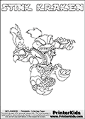 The coloring page is available as a coloring page to print and as an online coloring page. This colouring sheet is ment for Skylanders Swap Force fans and show the unique combination skylander called STINK KRAKEN. The Skylander cannot be bought as it is, it must be made by combining parts from other Skylanders Swap Force characters! STINK KRAKEN is drawn with the upper part of the STINK BOMB Skylander and the lower part of the FIRE KRAKEN Skylander, the part used from each Skylander is used in the new skylanders name. In this coloring page, the STINK KRAKEN skylander can be colored completely. The colouring page is drawn with a thin shaded line and has a colorable text with the STINK KRAKEN letters as well. Print and color this Skylanders Swap Force STINK KRAKEN coloring book page that is drawn and made available by Loke Hansen (http://www.LokeHansen.com) based on the original artwork of the Skylanders characters from the Skylanders Swap Force website. This line variant is the -editors choice- where detail areas and line appearance are in best balance. Be sure to check the two other variants of this coloring page for more stroke (the line used to draw the STINK KRAKEN with) options.