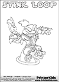 The coloring page is available as a coloring page to print and as an online coloring page. This colouring sheet is ment for Skylanders Swap Force fans and show the unique combination skylander called STINK LOOP. The Skylander cannot be bought as it is, it must be made by combining parts from other Skylanders Swap Force characters! STINK LOOP is drawn with the upper part of the STINK BOMB Skylander and the lower part of the HOOT LOOP Skylander, the part used from each Skylander is used in the new skylanders name. In this coloring page, the STINK LOOP skylander can be colored completely. The colouring page is drawn with a super thin line and has a colorable text with the STINK LOOP letters as well. Print and color this Skylanders Swap Force STINK LOOP coloring book page that is drawn and made available by Loke Hansen (http://www.LokeHansen.com) based on the original artwork of the Skylanders characters from the Skylanders Swap Force website. This coloring page variant has the highest amount of detail areas due to the thin drawing line used. Be sure to check the two other variants of this coloring page for more stroke (the line used to draw the STINK LOOP with) options.