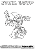 The coloring page is available as a coloring page to print and as an online coloring page. This colouring sheet is ment for Skylanders Swap Force fans and show the unique combination skylander called STINK LOOP. The Skylander cannot be bought as it is, it must be made by combining parts from other Skylanders Swap Force characters! STINK LOOP is drawn with the upper part of the STINK BOMB Skylander and the lower part of the HOOT LOOP Skylander, the part used from each Skylander is used in the new skylanders name. In this coloring page, the STINK LOOP skylander can be colored completely. The colouring page is drawn with a thin shaded line and has a colorable text with the STINK LOOP letters as well. Print and color this Skylanders Swap Force STINK LOOP coloring book page that is drawn and made available by Loke Hansen (http://www.LokeHansen.com) based on the original artwork of the Skylanders characters from the Skylanders Swap Force website. This line variant is the -editors choice- where detail areas and line appearance are in best balance. Be sure to check the two other variants of this coloring page for more stroke (the line used to draw the STINK LOOP with) options.