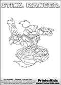 This Skylanders Swap Force coloring page is available as a printable coloring page and as an online coloring page. This colouring page show the unique combination figure STINK RANGER that must be made by combining parts from other Skylanders Swap Force characters! STINK RANGER is drawn with the upper part of the STINK BOMB Skylander and the lower part of the FREE RANGER Skylander, the part used from each Skylander is used in the new skylanders name. In this coloring page, the STINK RANGER skylander can be colored completely. The colouring page is drawn with a super thin line and has a colorable text with the STINK RANGER letters as well. Print and color this Skylanders Swap Force STINK RANGER coloring book page that is drawn and made available by Loke Hansen (http://www.LokeHansen.com) based on the original artwork of the Skylanders characters from the Skylanders Swap Force website. This coloring page variant has the highest amount of detail areas due to the thin drawing line used. Be sure to check the two other variants of this coloring page for more stroke (the line used to draw the STINK RANGER with) options.