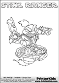 Skylanders Swap Force coloring page with STINK RANGER. This Skylander cannot be bought as it is, it must be made by combining parts from other Skylanders Swap Force characters! STINK RANGER is drawn with the upper part of the STINK BOMB Skylander and the lower part of the FREE RANGER Skylander, the part used from each Skylander is used in the new skylanders name. In this coloring page, the STINK RANGER skylander can be colored completely. The colouring page is drawn with a thin shaded line and has a colorable text with the STINK RANGER letters as well. Print and color this Skylanders Swap Force STINK RANGER coloring book page that is drawn and made available by Loke Hansen (http://www.LokeHansen.com) based on the original artwork of the Skylanders characters from the Skylanders Swap Force website. This line variant is the -editors choice- where detail areas and line appearance are in best balance. Be sure to check the two other variants of this coloring page for more stroke (the line used to draw the STINK RANGER with) options.