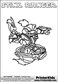 Printable and online colorable page for Skylanders Swap Force fans with the combination skylander called STINK RANGER. The Skylander cannot be bought as it is, it must be made by combining parts from other Skylanders Swap Force characters! STINK RANGER is drawn with the upper part of the STINK BOMB Skylander and the lower part of the FREE RANGER Skylander, the part used from each Skylander is used in the new skylanders name. In this coloring page, the STINK RANGER skylander can be colored completely. The colouring page is drawn with a very thick line making it ideal for the youngest Skylanders Swap Force fans. The downside of the thick line is that some detail areas become unavailable for coloring. The coloring page has a colorable text with the STINK RANGER letters as well. Print and color this Skylanders Swap Force STINK RANGER coloring book page that is drawn and made available by Loke Hansen (http://www.LokeHansen.com) based on the original artwork of the Skylanders characters from the Skylanders Swap Force website. Be sure to check the two other variants of this coloring page for more line width options.