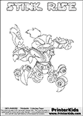 This Skylanders Swap Force coloring page is available as a printable coloring page and as an online coloring page. This colouring page show the unique combination figure STINK RISE that must be made by combining parts from other Skylanders Swap Force characters! STINK RISE is drawn with the upper part of the STINK BOMB Skylander and the lower part of the SPY RISE Skylander, the part used from each Skylander is used in the new skylanders name. In this coloring page, the STINK RISE skylander can be colored completely. The colouring page is drawn with a super thin line and has a colorable text with the STINK RISE letters as well. Print and color this Skylanders Swap Force STINK RISE coloring book page that is drawn and made available by Loke Hansen (http://www.LokeHansen.com) based on the original artwork of the Skylanders characters from the Skylanders Swap Force website. This coloring page variant has the highest amount of detail areas due to the thin drawing line used. Be sure to check the two other variants of this coloring page for more stroke (the line used to draw the STINK RISE with) options.