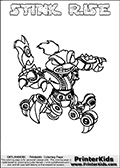 Printable and online colorable page for Skylanders Swap Force fans with the combination skylander called STINK RISE. The Skylander cannot be bought as it is, it must be made by combining parts from other Skylanders Swap Force characters! STINK RISE is drawn with the upper part of the STINK BOMB Skylander and the lower part of the SPY RISE Skylander, the part used from each Skylander is used in the new skylanders name. In this coloring page, the STINK RISE skylander can be colored completely. The colouring page is drawn with a very thick line making it ideal for the youngest Skylanders Swap Force fans. The downside of the thick line is that some detail areas become unavailable for coloring. The coloring page has a colorable text with the STINK RISE letters as well. Print and color this Skylanders Swap Force STINK RISE coloring book page that is drawn and made available by Loke Hansen (http://www.LokeHansen.com) based on the original artwork of the Skylanders characters from the Skylanders Swap Force website. Be sure to check the two other variants of this coloring page for more line width options.