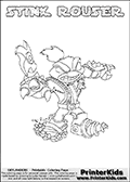 This Skylanders Swap Force coloring page is available as a printable coloring page and as an online coloring page. This colouring page show the unique combination figure STINK ROUSER that must be made by combining parts from other Skylanders Swap Force characters! STINK ROUSER is drawn with the upper part of the STINK BOMB Skylander and the lower part of the RUBBLE ROUSER Skylander, the part used from each Skylander is used in the new skylanders name. In this coloring page, the STINK ROUSER skylander can be colored completely. The colouring page is drawn with a super thin line and has a colorable text with the STINK ROUSER letters as well. Print and color this Skylanders Swap Force STINK ROUSER coloring book page that is drawn and made available by Loke Hansen (http://www.LokeHansen.com) based on the original artwork of the Skylanders characters from the Skylanders Swap Force website. This coloring page variant has the highest amount of detail areas due to the thin drawing line used. Be sure to check the two other variants of this coloring page for more stroke (the line used to draw the STINK ROUSER with) options.