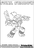 This Skylanders Swap Force coloring page is available as a printable coloring page and as an online coloring page. This colouring page show the unique combination figure STINK SHADOW that must be made by combining parts from other Skylanders Swap Force characters! STINK SHADOW is drawn with the upper part of the STINK BOMB Skylander and the lower part of the TRAP SHADOW Skylander, the part used from each Skylander is used in the new skylanders name. In this coloring page, the STINK SHADOW skylander can be colored completely. The colouring page is drawn with a super thin line and has a colorable text with the STINK SHADOW letters as well. Print and color this Skylanders Swap Force STINK SHADOW coloring book page that is drawn and made available by Loke Hansen (http://www.LokeHansen.com) based on the original artwork of the Skylanders characters from the Skylanders Swap Force website. This coloring page variant has the highest amount of detail areas due to the thin drawing line used. Be sure to check the two other variants of this coloring page for more stroke (the line used to draw the STINK SHADOW with) options.