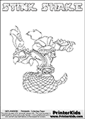 This Skylanders Swap Force coloring page is available as a printable coloring page and as an online coloring page. This colouring page show the unique combination figure STINK SHAKE that must be made by combining parts from other Skylanders Swap Force characters! STINK SHAKE is drawn with the upper part of the STINK BOMB Skylander and the lower part of the RATTLE SHAKE Skylander, the part used from each Skylander is used in the new skylanders name. In this coloring page, the STINK SHAKE skylander can be colored completely. The colouring page is drawn with a super thin line and has a colorable text with the STINK SHAKE letters as well. Print and color this Skylanders Swap Force STINK SHAKE coloring book page that is drawn and made available by Loke Hansen (http://www.LokeHansen.com) based on the original artwork of the Skylanders characters from the Skylanders Swap Force website. This coloring page variant has the highest amount of detail areas due to the thin drawing line used. Be sure to check the two other variants of this coloring page for more stroke (the line used to draw the STINK SHAKE with) options.