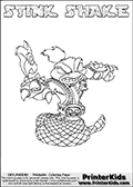 Skylanders Swap Force coloring page with STINK SHAKE. This Skylander cannot be bought as it is, it must be made by combining parts from other Skylanders Swap Force characters! STINK SHAKE is drawn with the upper part of the STINK BOMB Skylander and the lower part of the RATTLE SHAKE Skylander, the part used from each Skylander is used in the new skylanders name. In this coloring page, the STINK SHAKE skylander can be colored completely. The colouring page is drawn with a thin shaded line and has a colorable text with the STINK SHAKE letters as well. Print and color this Skylanders Swap Force STINK SHAKE coloring book page that is drawn and made available by Loke Hansen (http://www.LokeHansen.com) based on the original artwork of the Skylanders characters from the Skylanders Swap Force website. This line variant is the -editors choice- where detail areas and line appearance are in best balance. Be sure to check the two other variants of this coloring page for more stroke (the line used to draw the STINK SHAKE with) options.
