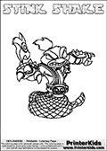 Printable and online colorable page for Skylanders Swap Force fans with the combination skylander called STINK SHAKE. The Skylander cannot be bought as it is, it must be made by combining parts from other Skylanders Swap Force characters! STINK SHAKE is drawn with the upper part of the STINK BOMB Skylander and the lower part of the RATTLE SHAKE Skylander, the part used from each Skylander is used in the new skylanders name. In this coloring page, the STINK SHAKE skylander can be colored completely. The colouring page is drawn with a very thick line making it ideal for the youngest Skylanders Swap Force fans. The downside of the thick line is that some detail areas become unavailable for coloring. The coloring page has a colorable text with the STINK SHAKE letters as well. Print and color this Skylanders Swap Force STINK SHAKE coloring book page that is drawn and made available by Loke Hansen (http://www.LokeHansen.com) based on the original artwork of the Skylanders characters from the Skylanders Swap Force website. Be sure to check the two other variants of this coloring page for more line width options.