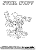 This Skylanders Swap Force coloring page is available as a printable coloring page and as an online coloring page. This colouring page show the unique combination figure STINK SHIFT that must be made by combining parts from other Skylanders Swap Force characters! STINK SHIFT is drawn with the upper part of the STINK BOMB Skylander and the lower part of the NIGHT SHIFT Skylander, the part used from each Skylander is used in the new skylanders name. In this coloring page, the STINK SHIFT skylander can be colored completely. The colouring page is drawn with a super thin line and has a colorable text with the STINK SHIFT letters as well. Print and color this Skylanders Swap Force STINK SHIFT coloring book page that is drawn and made available by Loke Hansen (http://www.LokeHansen.com) based on the original artwork of the Skylanders characters from the Skylanders Swap Force website. This coloring page variant has the highest amount of detail areas due to the thin drawing line used. Be sure to check the two other variants of this coloring page for more stroke (the line used to draw the STINK SHIFT with) options.