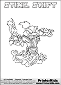 Skylanders Swap Force coloring page with STINK SHIFT. This Skylander cannot be bought as it is, it must be made by combining parts from other Skylanders Swap Force characters! STINK SHIFT is drawn with the upper part of the STINK BOMB Skylander and the lower part of the NIGHT SHIFT Skylander, the part used from each Skylander is used in the new skylanders name. In this coloring page, the STINK SHIFT skylander can be colored completely. The colouring page is drawn with a thin shaded line and has a colorable text with the STINK SHIFT letters as well. Print and color this Skylanders Swap Force STINK SHIFT coloring book page that is drawn and made available by Loke Hansen (http://www.LokeHansen.com) based on the original artwork of the Skylanders characters from the Skylanders Swap Force website. This line variant is the -editors choice- where detail areas and line appearance are in best balance. Be sure to check the two other variants of this coloring page for more stroke (the line used to draw the STINK SHIFT with) options.