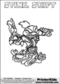 Printable and online colorable page for Skylanders Swap Force fans with the combination skylander called STINK SHIFT. The Skylander cannot be bought as it is, it must be made by combining parts from other Skylanders Swap Force characters! STINK SHIFT is drawn with the upper part of the STINK BOMB Skylander and the lower part of the NIGHT SHIFT Skylander, the part used from each Skylander is used in the new skylanders name. In this coloring page, the STINK SHIFT skylander can be colored completely. The colouring page is drawn with a very thick line making it ideal for the youngest Skylanders Swap Force fans. The downside of the thick line is that some detail areas become unavailable for coloring. The coloring page has a colorable text with the STINK SHIFT letters as well. Print and color this Skylanders Swap Force STINK SHIFT coloring book page that is drawn and made available by Loke Hansen (http://www.LokeHansen.com) based on the original artwork of the Skylanders characters from the Skylanders Swap Force website. Be sure to check the two other variants of this coloring page for more line width options.