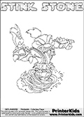 This Skylanders Swap Force coloring page is available as a printable coloring page and as an online coloring page. This colouring page show the unique combination figure STINK STONE that must be made by combining parts from other Skylanders Swap Force characters! STINK STONE is drawn with the upper part of the STINK BOMB Skylander and the lower part of the DOOM STONE Skylander, the part used from each Skylander is used in the new skylanders name. In this coloring page, the STINK STONE skylander can be colored completely. The colouring page is drawn with a super thin line and has a colorable text with the STINK STONE letters as well. Print and color this Skylanders Swap Force STINK STONE coloring book page that is drawn and made available by Loke Hansen (http://www.LokeHansen.com) based on the original artwork of the Skylanders characters from the Skylanders Swap Force website. This coloring page variant has the highest amount of detail areas due to the thin drawing line used. Be sure to check the two other variants of this coloring page for more stroke (the line used to draw the STINK STONE with) options.