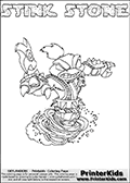 Skylanders Swap Force coloring page with STINK STONE. This Skylander cannot be bought as it is, it must be made by combining parts from other Skylanders Swap Force characters! STINK STONE is drawn with the upper part of the STINK BOMB Skylander and the lower part of the DOOM STONE Skylander, the part used from each Skylander is used in the new skylanders name. In this coloring page, the STINK STONE skylander can be colored completely. The colouring page is drawn with a thin shaded line and has a colorable text with the STINK STONE letters as well. Print and color this Skylanders Swap Force STINK STONE coloring book page that is drawn and made available by Loke Hansen (http://www.LokeHansen.com) based on the original artwork of the Skylanders characters from the Skylanders Swap Force website. This line variant is the -editors choice- where detail areas and line appearance are in best balance. Be sure to check the two other variants of this coloring page for more stroke (the line used to draw the STINK STONE with) options.