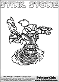 Printable and online colorable page for Skylanders Swap Force fans with the combination skylander called STINK STONE. The Skylander cannot be bought as it is, it must be made by combining parts from other Skylanders Swap Force characters! STINK STONE is drawn with the upper part of the STINK BOMB Skylander and the lower part of the DOOM STONE Skylander, the part used from each Skylander is used in the new skylanders name. In this coloring page, the STINK STONE skylander can be colored completely. The colouring page is drawn with a very thick line making it ideal for the youngest Skylanders Swap Force fans. The downside of the thick line is that some detail areas become unavailable for coloring. The coloring page has a colorable text with the STINK STONE letters as well. Print and color this Skylanders Swap Force STINK STONE coloring book page that is drawn and made available by Loke Hansen (http://www.LokeHansen.com) based on the original artwork of the Skylanders characters from the Skylanders Swap Force website. Be sure to check the two other variants of this coloring page for more line width options.