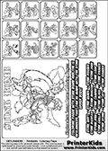 Printable Skylanders Swap Force coloring page for kids with all 16 combinations of Skylanders made with the STINK upper part. Most of the skylanders coloring figures are relatively small - but the printable colouring sheet is really fun nonetheless. Print and color this Skylanders Swap Force MASTERS STINK SWAP coloring print page that is drawn and made available by Loke Hansen (http://www.LokeHansen.com) based on the original artwork of the Skylanders characters from the Skylanders Swap Force website. This coloring page variant was originally designed as a coloring page section teaser for the PrinterKids website - but my own kids just loved it so much I turned it into a coloring page others could print as well! The Skylanders combinations show here for coloring are: STINK ZONE, STINK JET, STINK STONE, STINK KRAKEN, STINK RANGER, STINK BLADE, STINK DRILLA, STINK LOOP, STINK CHARGE, STINK SHIFT, STINK SHAKE, STINK ROUSER, STINK RISE, STINK BOMB, STINK SHADOW and STINK BUCKLER.