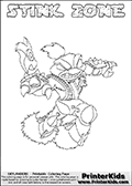 This Skylanders Swap Force coloring page is available as a printable coloring page and as an online coloring page. This colouring page show the unique combination figure STINK ZONE that must be made by combining parts from other Skylanders Swap Force characters! STINK ZONE is drawn with the upper part of the STINK BOMB Skylander and the lower part of the BLAST ZONE Skylander, the part used from each Skylander is used in the new skylanders name. In this coloring page, the STINK ZONE skylander can be colored completely. The colouring page is drawn with a super thin line and has a colorable text with the STINK ZONE letters as well. Print and color this Skylanders Swap Force STINK ZONE coloring book page that is drawn and made available by Loke Hansen (http://www.LokeHansen.com) based on the original artwork of the Skylanders characters from the Skylanders Swap Force website. This coloring page variant has the highest amount of detail areas due to the thin drawing line used. Be sure to check the two other variants of this coloring page for more stroke (the line used to draw the STINK ZONE with) options.
