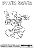 Skylanders Swap Force coloring page with STINK ZONE. This Skylander cannot be bought as it is, it must be made by combining parts from other Skylanders Swap Force characters! STINK ZONE is drawn with the upper part of the STINK BOMB Skylander and the lower part of the BLAST ZONE Skylander, the part used from each Skylander is used in the new skylanders name. In this coloring page, the STINK ZONE skylander can be colored completely. The colouring page is drawn with a thin shaded line and has a colorable text with the STINK ZONE letters as well. Print and color this Skylanders Swap Force STINK ZONE coloring book page that is drawn and made available by Loke Hansen (http://www.LokeHansen.com) based on the original artwork of the Skylanders characters from the Skylanders Swap Force website. This line variant is the -editors choice- where detail areas and line appearance are in best balance. Be sure to check the two other variants of this coloring page for more stroke (the line used to draw the STINK ZONE with) options.