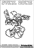 Printable and online colorable page for Skylanders Swap Force fans with the combination skylander called STINK ZONE. The Skylander cannot be bought as it is, it must be made by combining parts from other Skylanders Swap Force characters! STINK ZONE is drawn with the upper part of the STINK BOMB Skylander and the lower part of the BLAST ZONE Skylander, the part used from each Skylander is used in the new skylanders name. In this coloring page, the STINK ZONE skylander can be colored completely. The colouring page is drawn with a very thick line making it ideal for the youngest Skylanders Swap Force fans. The downside of the thick line is that some detail areas become unavailable for coloring. The coloring page has a colorable text with the STINK ZONE letters as well. Print and color this Skylanders Swap Force STINK ZONE coloring book page that is drawn and made available by Loke Hansen (http://www.LokeHansen.com) based on the original artwork of the Skylanders characters from the Skylanders Swap Force website. Be sure to check the two other variants of this coloring page for more line width options.