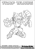 Printable or online colorable Skylanders Swap Force coloring page. This colouring sheet show the combination skylander TRAP BLADE that has to be made by combining parts from other Skylanders Swap Force characters! TRAP BLADE is drawn with the upper part of the TRAP SHADOW Skylander and the lower part of the FREEZE BLADE Skylander. In this coloring page, the TRAP BLADE skylander can be colored in full - as a complete skylander. The colouring page is drawn with a super thin line and has a colorable text with the TRAP BLADE letters as well. Print and color this Skylanders Swap Force TRAP BLADE coloring book page that is drawn and made available by Loke Hansen (http://www.LokeHansen.com) based on the original artwork of the Skylanders characters from the Skylanders Swap Force website. This coloring page variant has the highest amount of detail areas due to the thin drawing line used. Be sure to check the two other variants of this coloring page for more stroke (the line used to draw the TRAP BLADE with) options.